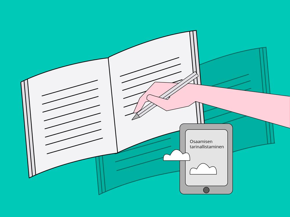 Piirretty osaamisen tarinallistaminen -teeman kuva, jossa on käsi joka kirjoittaa kirjaan ja käden alapuolella on kännykkä, jossa lukee osaamisen tarinallistaminen.
